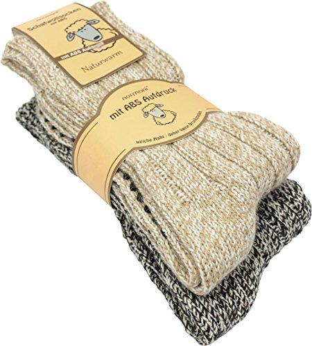 normani 2 Paar Schafwollsocken mit ABS Haussocken mit Schafwolle Farbe Grau-Melange Größe 39-42