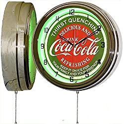 ELG Companies LLC Coca Cola 16 Green Neon Wall Clock Lighted Distressed Sign Soda Pop Shop Coke Bottle Logo Vintage Retro Style
