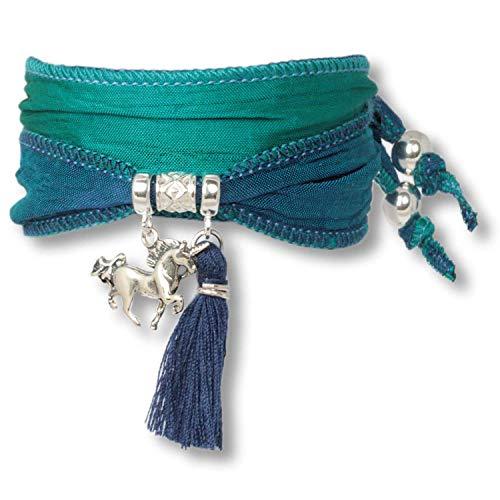 Anisch de la Cara Mujeres Pulsera Mermaid Green - Pulsera de Plata esterlina Boho Unicorn Hecha de Telas Saris Indias Silver Symbols - Arte no 90913-d