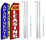 Now Available Now Leasing King Swooper Flag Sign with Complete Hybrid Pole Set - Pack of 2