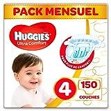 Huggies, Couches bébé Taille 4 (7-18 kg), 150 couches, Unisexe, Pack 1 mois de consommation, Ultra...