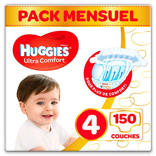 Huggies, Couches bébé Taille 4 (7-18 kg), 150 couches, Unisexe, Pack 1 mois de consommation, Ultra Comfort
