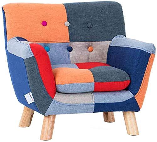 Sofá tapizado para niños Sofás para niños, sillón para niños, silla de reposabrazos, silla redonda, respaldo, silla de tela, silla de comedor informal para sala de juegos, dormitorio