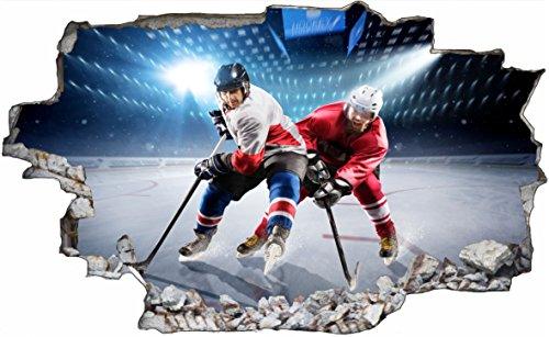DesFoli Eishockey 3D Look Wandtattoo 70 x 115 cm Wanddurchbruch Wandbild Sticker Aufkleber C617