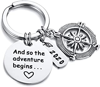MEALGUET Stainless Steel Compass and 2020 Charms Inspirational Quote and So The Adventure Begins Engraved Keychain for Graduate, Gruduation Gift for High School or College Student