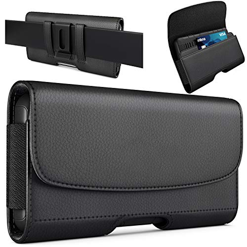 PiTau Belt Case for iPhone 12 Pro max, 11 Pro Max, Xs Max, 8 Plus, 7 Plus, 6s Plus – Premium Belt Holster Case with Belt Clip Belt Holder Pouch Compatible with Large iPhone Otterbox Case on Black
