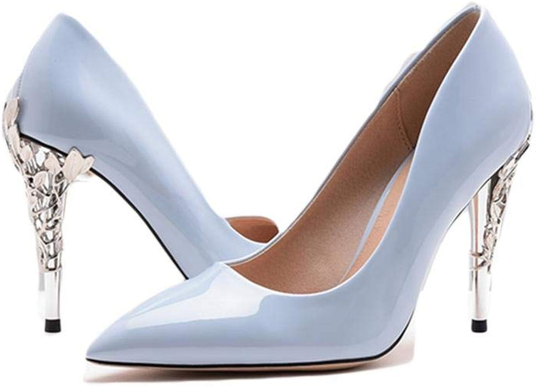 HIGHXE Frauen hohen Abstzen flachen Mund Spitze hohen Abstzen sexy sexy Hochzeit Schuhe Lackleder England