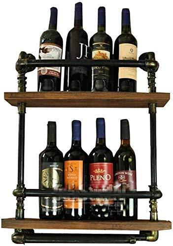 BXU-BG Estante de almacenamiento de cocina de 2 niveles de metal para 5 botellas independiente, estilo vintage, de madera, para vino, vino, vino, vino, ballena