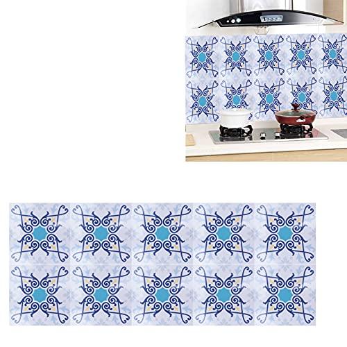 Eosnow Etiqueta engomada de la Teja, Etiquetas engomadas Impermeables del Piso 10x10cm para el Cuarto de baño de la Cocina para la decoración casera(2)