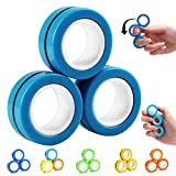 NSKER 3PCS Fidget Toys for Anxiety-Cool Office School Stress Toys Magnetic Finger Spinner Focus Decompression Anti-Autism ADHD Toys Novelty Funny Gifts Fidget Toys for Children,Men,Women-Sky Blue