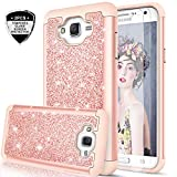 Galaxy J7 Case (2015) with Tempered Glass Screen Protector for Women Girls, LeYi Luxury Glitter [PC Silicone Leather] Heavy Duty Protective Phone Case for Samsung Galaxy J7 Neo J700 2015 TP Rose Gold