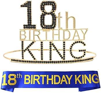 18th Birthday Gift,18Birthday Decorations,18th Birthday Gifts for Him,18Birthday Sash and Crown,Decorations for 18th Birthday Party,18th Birthday Boy,18th Birthday Party Supplies,18th Birthday