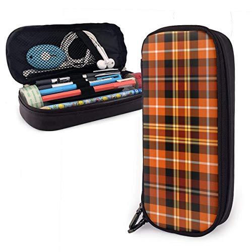 Astuccio per matite scozzese marrone arancione e giallo ruggine Borsa per penna di grande capacità Custodia per trucco Tasche per cancelleria per studenti di lunga durata