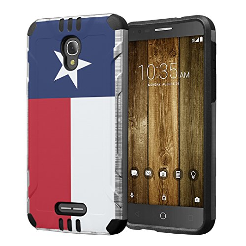 Alcatel Fierce 4 / Allura/Pop 4 Plus Case, Hybrid Dual Layer Silm Defender Armor Case (Silver & Black) Brushed Finishing for Alcatel Fierce 4 / Allura/Pop 4 Plus - (Texas Flag)