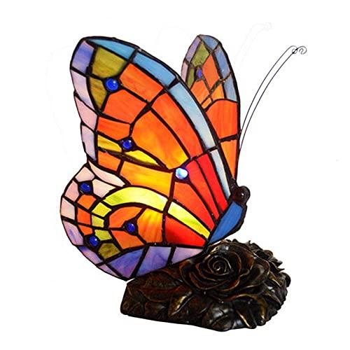 Lámpara De Mesa De Mariposa Lámpara De Mariposa Tiffany Antique Lámpara De Mesa De Enchufe con Cuerpo Floral, Usado En El Dormitorio