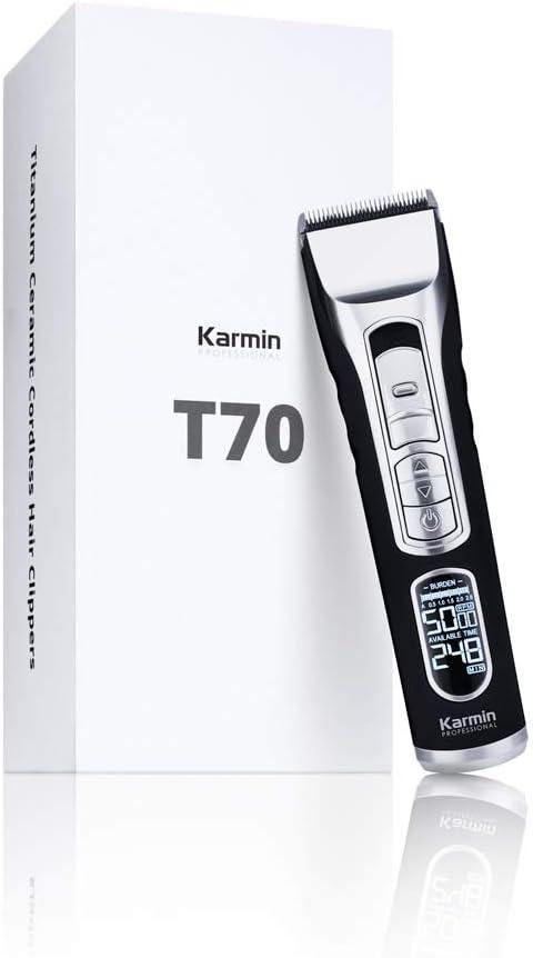Karmin T70 - Maquina de cortar pelo/cabello profesional para hombre con cuchillas de ceramica, Inalámbrica, recargable con Display LED
