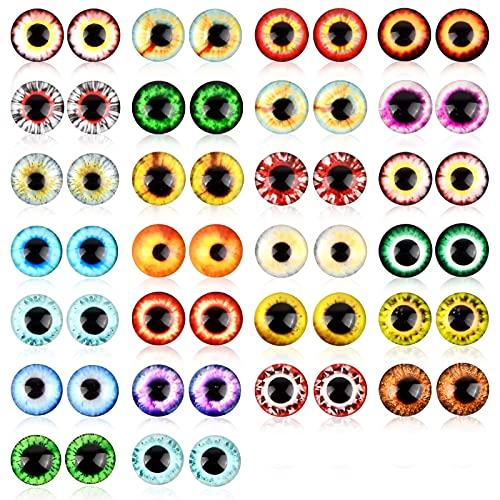 Changrongsheng 100 Pezzi Colorati Occhi di Vetro, Vetro Occhi di Animali, Vetro Occhi per Artigianale Bambole, Cabochon Occhio di Dinosauro di Vetro, per Gatto Orsacchiotto Giocattoli Gioielli, 12mm