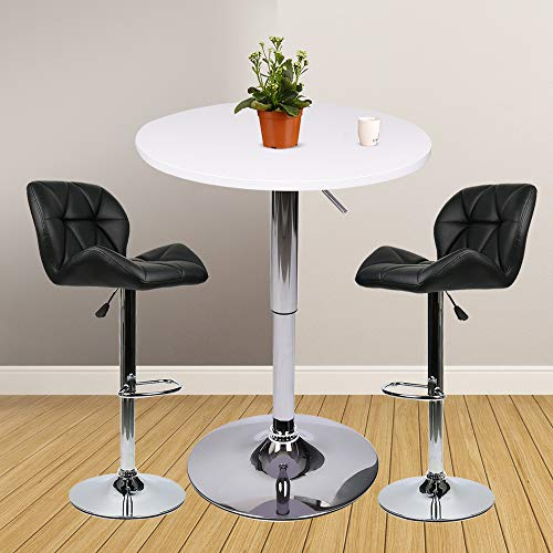 Bar Table Set of 3 – Adjustable Round Table and 2 Swivel Pub Stools for Home Kitchen Bistro, Bars Wine Cabinets (Set 1)