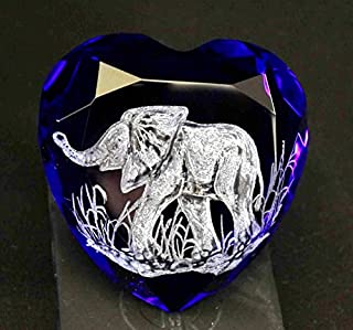HandEngraved Elephant paperweight, cobalt blue paperweight, hand Engraved glass, office decor, paperweights, heart