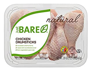 Just BARE All Natural Fresh Chicken, Drumsticks, 1.25 lb
