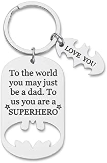 Fathers Day Gifts Dad Birthday Batman Keychain for Daddy Step Dad to Be Husband I Love You Gifts