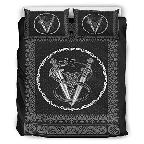 Twelve constellations Juego de ropa de cama vikingo, suave y ligero, 1 funda nórdica y 2 fundas de almohada, para dormitorio juvenil, color blanco, 229 x 229 cm