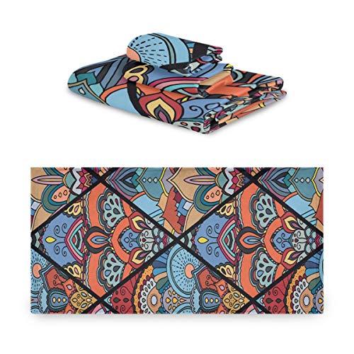 Juegos de toallas para mujeres Boho Seamless From Flower Mandala Rhombus Juego de toallas de playa Extremadamente absorbente, hermoso Juego de toallas de 3 piezas 1 toalla de baño, 1 toalla de mano,