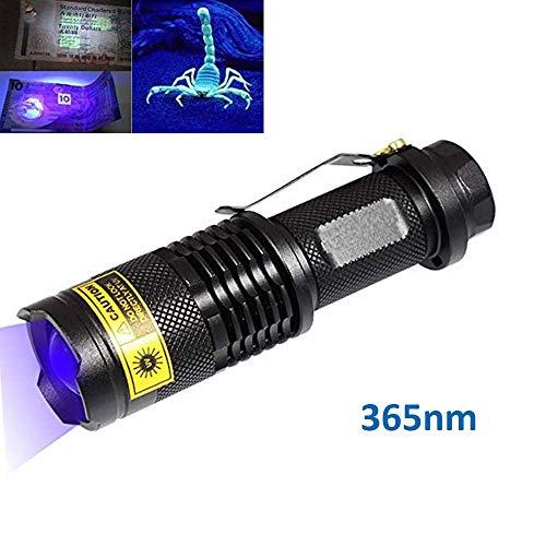 UV 365nm LED taschenlampe 3watt Ultraviolett-Taschenlampe Blacklight-UV-Lampe zum Erkennen von Mineralien Diamant-Skorpione Dokumentieren Sie die Fluoreszenz in der Kosmetik
