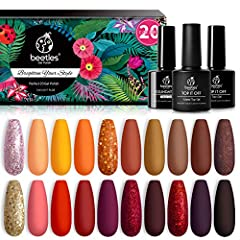 Beetles gel nail kit:When fall rolls around, the changing colors of trees, the smell of pumpkin pancakes, a cup of steaming tea. Family sitting around a crackling fire in warm sweaters and the room fills with laughter and joy. WHAT YOU GET: 20 x Mini...