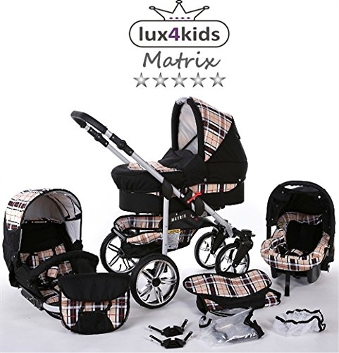 Chilly Kids Matrix II Kinderwagen Komplettset (Autositz & Adapter, Regenschutz, Moskitonetz, Schwenkräder) 47 Schwarz & Karo