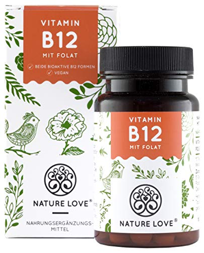 NATURE LOVE® Vitamin B12 Vegan - Vergleichssieger 2019* - 1000µg, 180 Tabletten. Beide aktive Formen Adenosyl- & Methylcobalamin + Depot + Folat 5-MTHF. Vegan, hochdosiert, made in Germany
