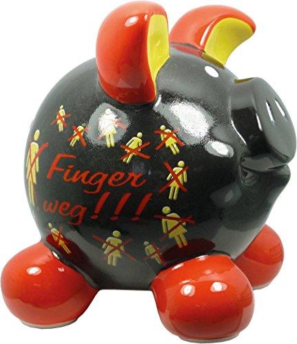 Swiggie Sparschwein Finger Weg Schwarz Spardose Glücksschwein 13 cm 15,5 cm: Größe: 13 cm
