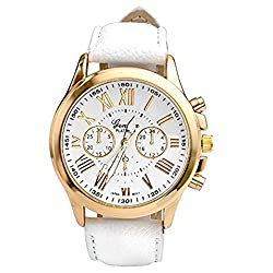 Auwer Watches, 2019 Black Geneva Fashion Women Diamond Analog Leather Quartz Wrist Watch Watches (White)
