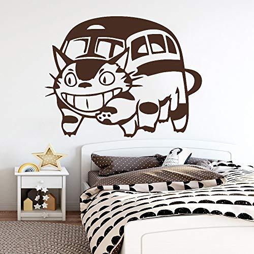 Kat bus muurstickers kleuterschool kinderkamer kat anime vinyl kunst autoruit stickers jeugdkamer familie decoratie muurschildering 50.4x38.4cm
