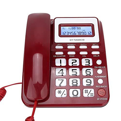 ASHATA Teléfono con Cable, teléfono con Altavoz, grabadora de Voz y Pantalla de identificación de Llamadas, calculadora, Botones Grandes, Modo de Silencio, Interfaz Dual, Rojo/Negro/Blanco(Rojo)