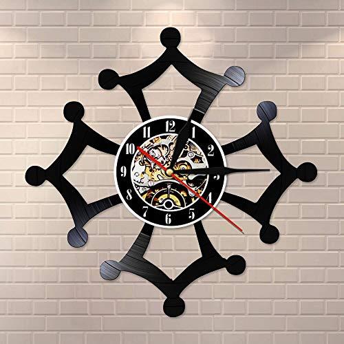 wtnhz LED-Cruz Retro Disco de Vinilo Reloj de Pared Artista de Pared decoración del hogar Mudo sin Escala Reloj de Pared