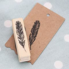 East of India Wooden Stamp Dimensions - 45 mm x 10 mm Approx. Feather design Perfect for adding something different to gifts & cards Ink Not Included