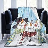 SINOVAL Ultra Soft Fleece Throw Blanket Frosty & Friends Snowman Queen (90' X 78') Warm Fuzzy Blankets for The Bed Sofa Lightweight