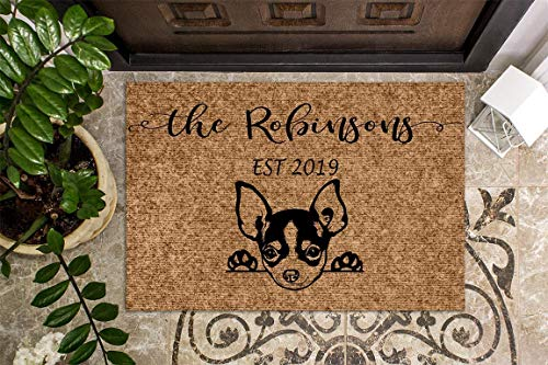 Welcome Mat Custom Doormat Closing Gift Last Name Door Mat Personalized Doormat Housewarming Gift Chihuahua Puppy Dog