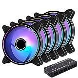 EZDIY-FAB Moonlight Ventilador de RGB PWM Caso 120mm con RGB PWM Fan Hub,5V Motherboard Sync,ARGB Ventilador PC Caso,Múltiples Modos de Luz-5 Pack