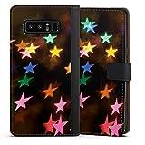 DeinDesign Cover kompatibel mit Samsung Galaxy Note 8 Duos Tasche Leder Flip Hülle Hülle Stars Sterne Bunt