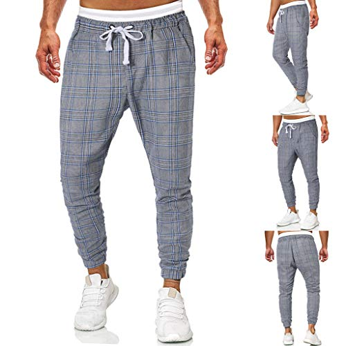 Memefood Pantalones Hombre Casuales Moda Impresión a Cuadros Deportivos Running Pants Jogging...