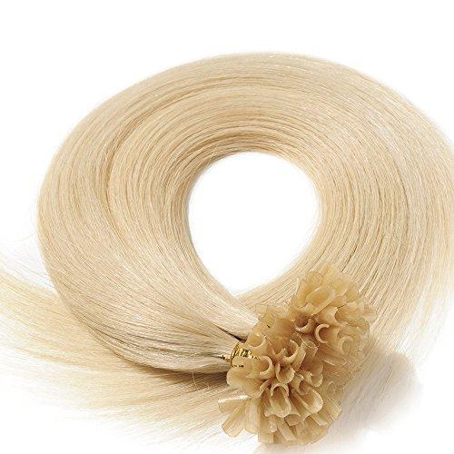 60cm Extension Capelli Veri Cheratina 1 Grammo per Ciocca 50g/pack U Tip Remy Hair Umani Naturali Lisci (24' #60 Biondo Platino)