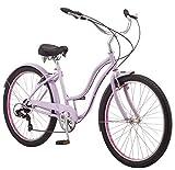Schwinn Mikko Adult Beach Cruiser Bike, Featuring 17-Inch/Medium Steel Step-Over Frames, 7-Speed Drivetrains, Purple