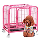 HONGYIFEI2021 Dog Cage Pink Color Dog Crate Dog Cage Dog Kennel Pet Puppy Playpen Outdoor Metal Wire Folding Travel Camping Crate With Divider Plastic Pet Crate (Size : S)