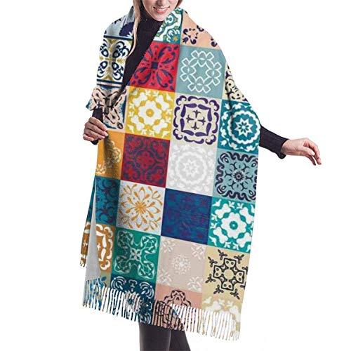 Couverture Châle Femme Châle Wrap Echarpes, Patchwork Vintage Lisbonne espagne tunisie Motifs écharpe en cachemire pour femmes hommes léger unisexe mode doux hiver écharpes frange châle enveloppes