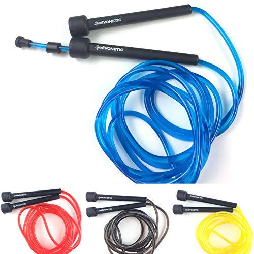 Sportivonetic Springseil für Erwachsene & Kinder – Verstellbare Größe – Speed Rope (Blau)