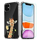 Giraffe Phone Case for iPhone 6/iPhone 6s with Screen Protector,Floral Giraffes Pattern Soft & Flexible TPU Ultra-Thin Shockproof Transparent Bumper Protective Case for iPhone 6/6s(Giraffe)