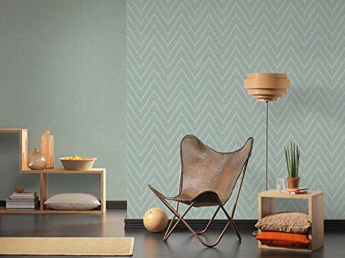 Livingwalls Vliestapete Hygge Tapete mit Zick Zack Muster 10,05 m x 0,53 m blau grün Made in Germany 363844 36384-4