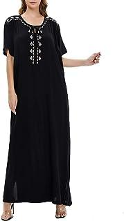 GaoYunQin Femme Robe Chemise de Nuit pour Femmes Coton a Manches Courtes Vêtements de Nuit Longs Chemise de Nuit Coupe Amp...